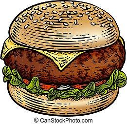 drzeworyt, ilustracja, hamburger, hamburger, rocznik wina