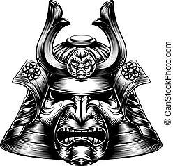 drzeworyt, samuraj, maska, styl