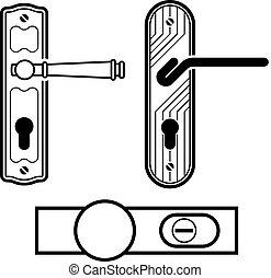 drzwi, czarnoskóry, wektor, rączka, ikony