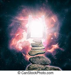 drzwi, eteryczny, rzeczywistość, abstrakcyjny, tła, inny, otwarty