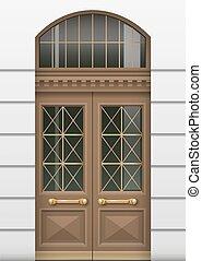 drzwi, front, wejście