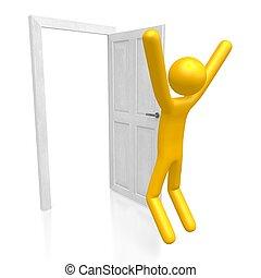 drzwi, pojęcie, 3d, radość