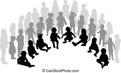 duża grupa, dzieci