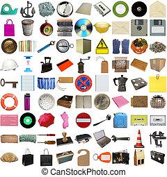 dużo, obiekty, odizolowany