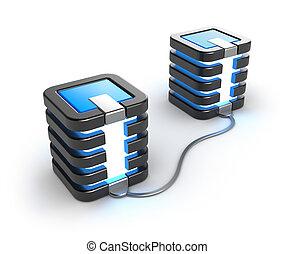 duży komputer, związany, servery