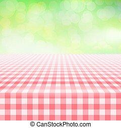duży parasol, piknik, zielone tło, tablecloth, opróżniać