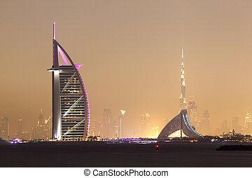 dubai, zjednoczony, arab, sylwetka na tle nieba, emiraty, noc