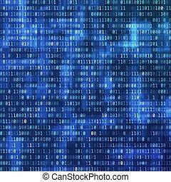 dwójkowy, komputer, stream., ilustracja, dane, wektor, tło, cyfrowy, prospekt., technologia, code., design.