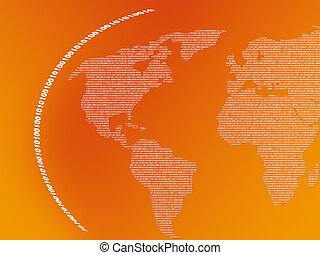 dwójkowy, mapa, świat