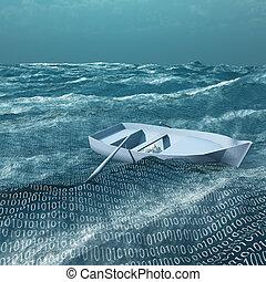 dwójkowy, na wodzie, ocean, opróżniać, rowboat