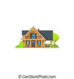 dwór, bungalow, dom, drewno, drewno, chata, barak