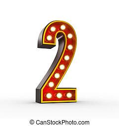 dwa, liczba, światła, jarzący się, retro, wystawa