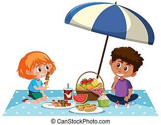 dwa, piknik, dzieciaki, biały, posiadanie, tło