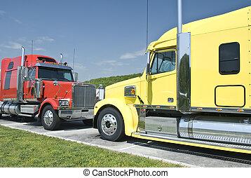 dwa, semi-trucks, nowy