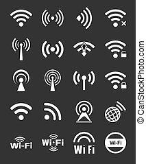 dwadzieścia, wifi, komplet, ikony