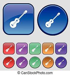 dwanaście, komplet, rocznik wina, poznaczcie., gitara, pikolak, wektor, akustyczny, ikona, twój, design.