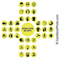 dwunawowy, zbiór, zdrowie, żółty, bezpieczeństwo, ikona