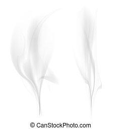 dym, biały, czarnoskóry, odizolowany, tło