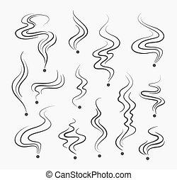 dymi się, wektor, powonienie, palenie, znaki, zapach, kreska, dym, spirala, icons.