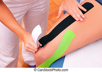 dynamiczny, czynnościowy, bandaż, taping