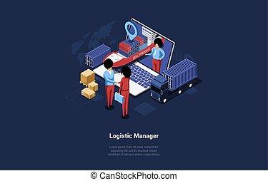 dyrektor, pisanie, statek, logistyka, rysunek, siła robocza, sprawa litery, tektura, styl, gps, wektor, 3d, wózek, nawigator, ilustracja, potrząsanie, kabiny, isometric, laptop, skład, near.