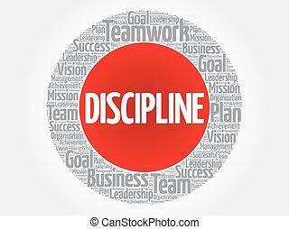 dyscyplina, koło, słowo, chmura