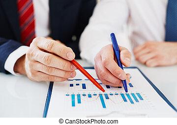 dyskutując, finansowy, dane
