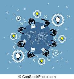 dyskutując, grupa, mapa, ludzie, okrągły, brainstorming, górny, prospekt., świat, stół