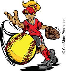 dzban, piłka, turniej, softball, mocny, sztuka, ilustracja, fastpitch, smoła, wektor, rysunek, rzucony