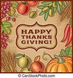 dziękczynienie, karta, retro