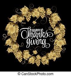 dzięki, złoty, sylwetka, złoty, dawać, grap, wieniec, text., dziękczynienie, ilustracja, typografia, autumn dzień, wektor, afisze, eps10, blask, szczęśliwy, design.