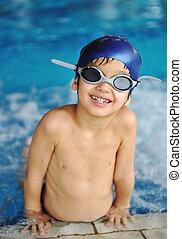działalność, kałuża, interpretacja, woda, lato, dzieci, szczęście, pływacki