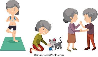 działalność, komplet, starsze ludzie