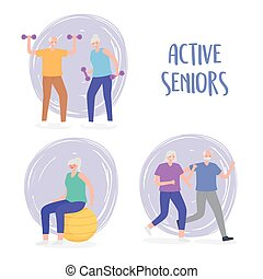 działalność, practicing, grupa, litery, fizyczny, seniorzy, działalność, starsze ludzie