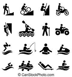 działalność, rekreacyjny, wolny czas, ikony