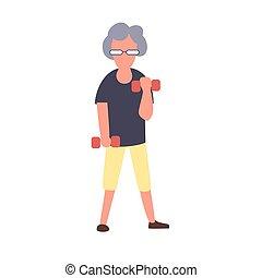 działalność, rozrywka, kobieta, concept., character., trening, wolny czas, senior, wektor, starszy, samica, stosowność, dumbbells., rysunek
