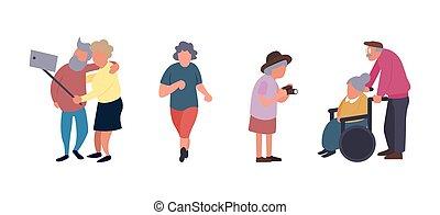 działalność, rozrywka, ludzie., grupa, ludzie, concept., litera, wolny czas, starszy, wektor, tło., samica, czynny, stary, senior, rysunek, starszy