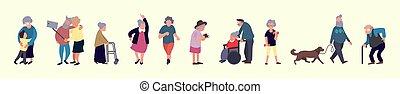 działalność, rozrywka, na wolnym powietrzu, activities., tłum, pieszy., ludzie., mężczyźni, starszy, pojęcie, wolny czas, stary, starsi kobiety