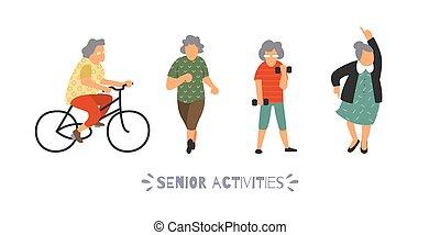działalność, rozrywka, na wolnym powietrzu, grupa, ludzie, set., wolny czas, ilustracja, osoby, sports., wektor, płaski, starszy, iść, senior, concept.