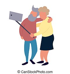 działalność, rozrywka, stary zaludniają, para, selfie., wolny czas, senior, concept., ustalać