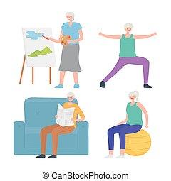 działalność, zrobienie, sport, hobby, seniorzy, działalność, starsze ludzie