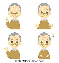 dziad, zdziwiony, zmieszać, rozmawianie