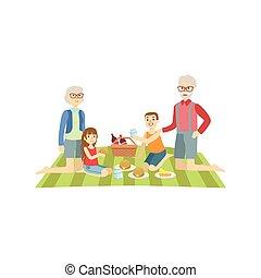 dziadkowie, dzieciaki, piknik, posiadanie