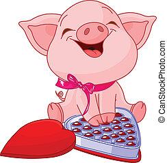 dzień, ładny, list miłosny, świnia