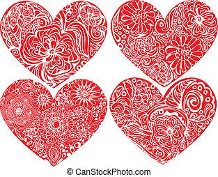 dzień, albo, miłość, ręka, ślub, kwiatowy, komplet, serca, modeluje, list miłosny, pociągnięty, pojęcie, design., ornaments.