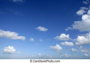 dzień, błękitny, słoneczny, niebo, chmury, piękny, biały