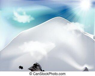 dzień, góra, chmury, słoneczny