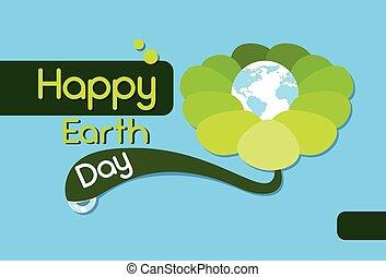 dzień, obsypać kulę, świat, zielony, kwiat, płaski