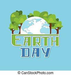 dzień, obsypać kulę, drzewa, świat, zielony