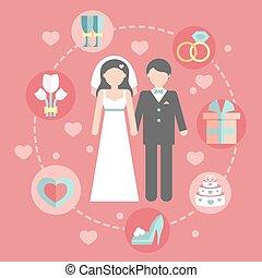 dzień, płaski, szambelan królewski., projektować, statystyka, pojęcia, wektor, ślub, plan, komplet, infographic, albo, ikony, panna młoda, template., zameldować, brzeg, rysunek, handlowy